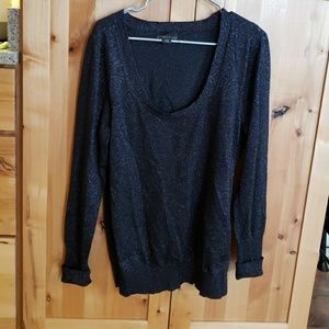 Black with sparkles plunge neck top